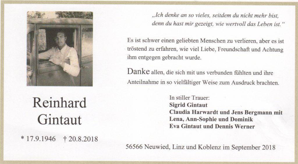 Reinhard Gintaut - Danksagung