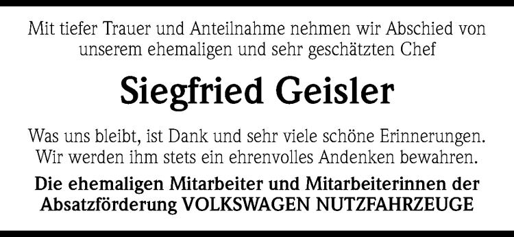 Siegfried Geister – ein Nachruf